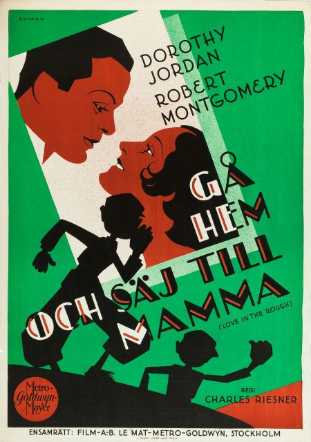"Brilliantly bright and crisp Swedish poster for the MGM 1930 film ""Love in the Rough."""