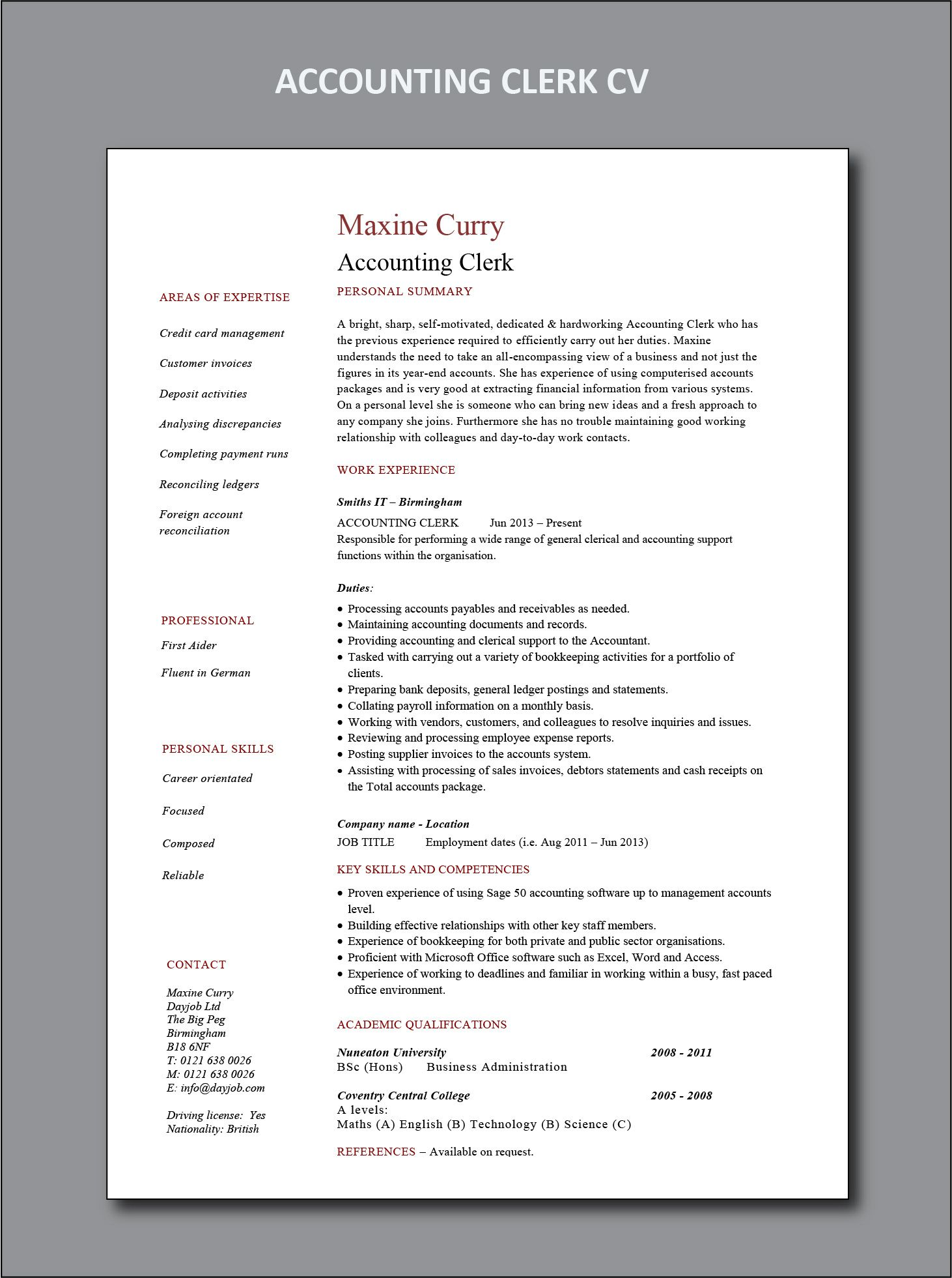 Accounting clerk resume project manager resume office