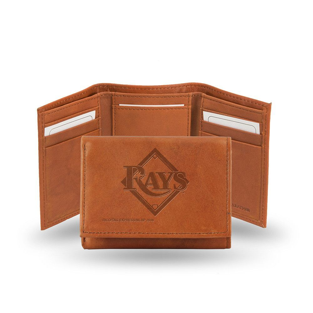 Tampa Bay Rays Tri Fold Wallet Pecan Cowhide