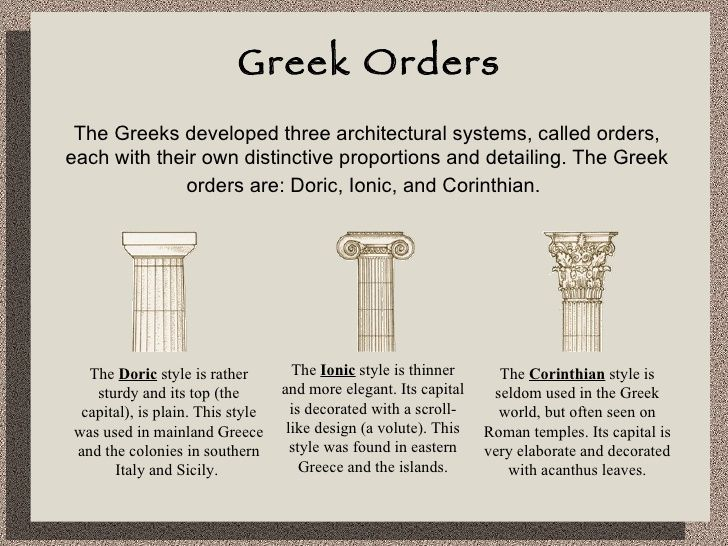 The Greek developed three architectural system, called Greek ...
