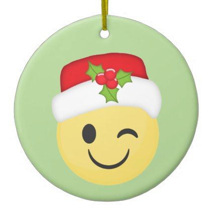 Cute Winking Christmas Emoji Holiday Ornament Zazzle Com Holiday Ornaments Diy Kids Ornaments Holiday Ornaments