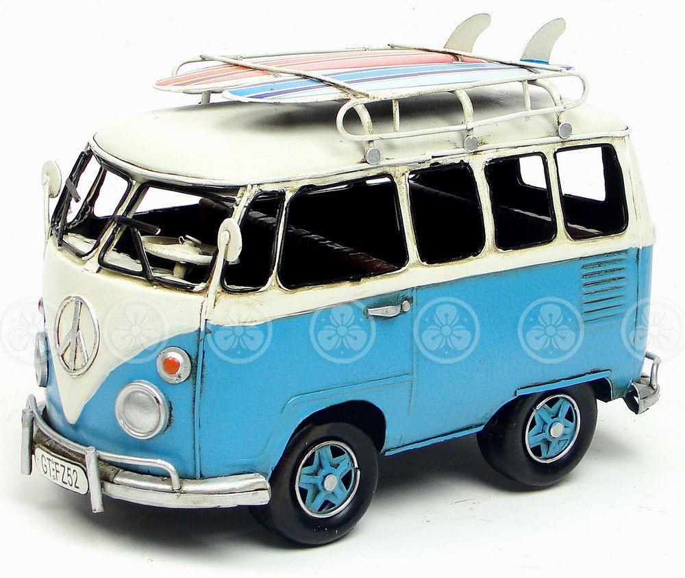 Handmade iron tin metal art car volkswagen vw bus with surf boards