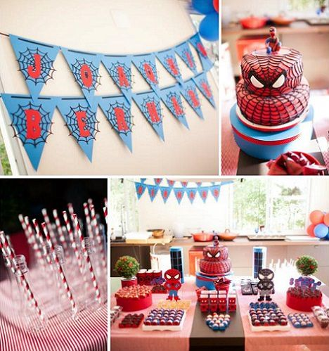 Decoracion de una fiesta del hombre ara a happy birthday - Decoracion de aranas ...