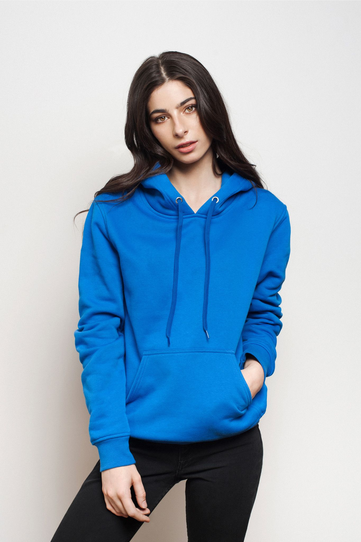 Women Royal Blue Pullover Hoodie. Long sleeve 5a5c96fafd