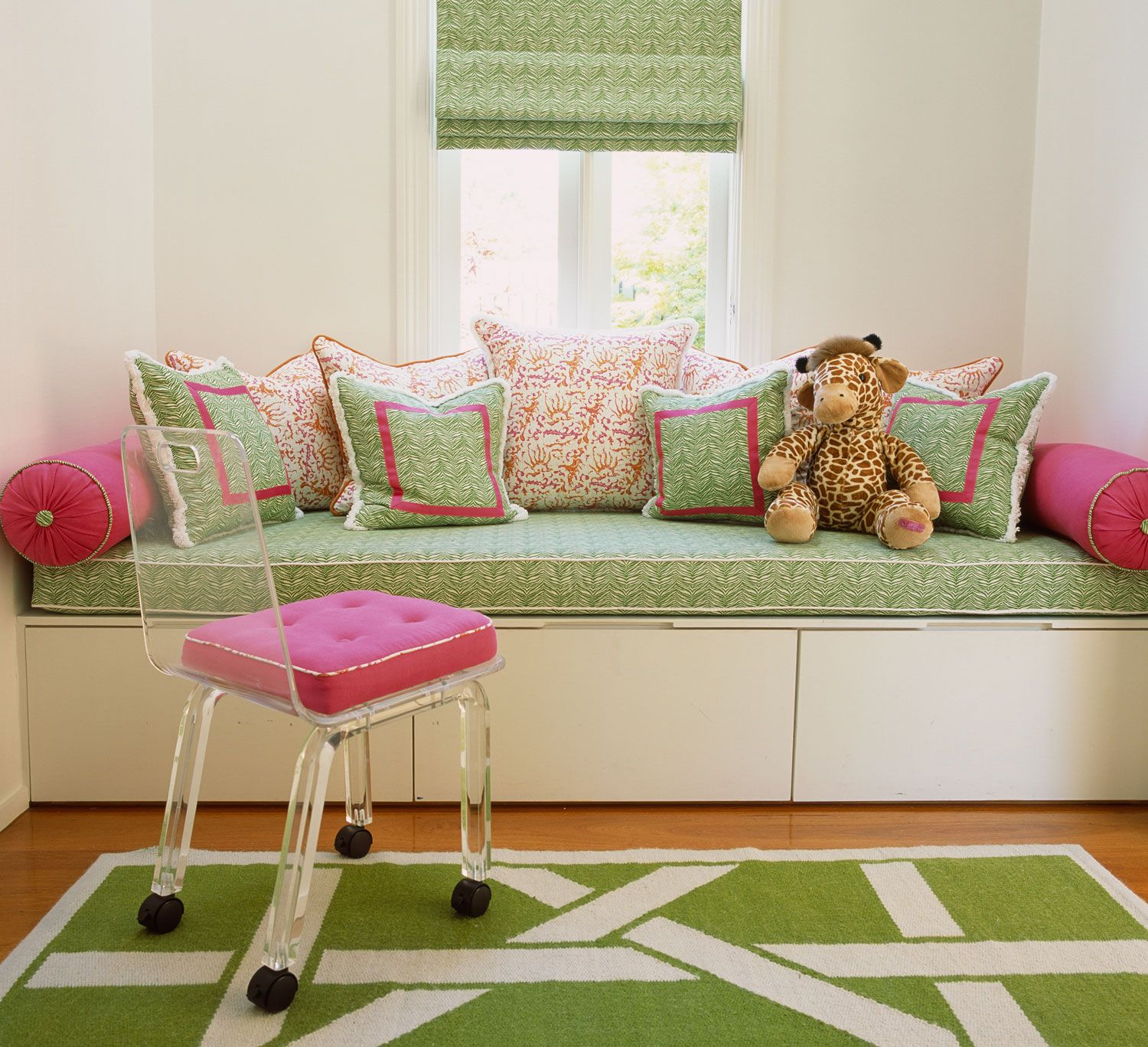 Window Seat Cushions, Girls Bedroom, Pink And Green