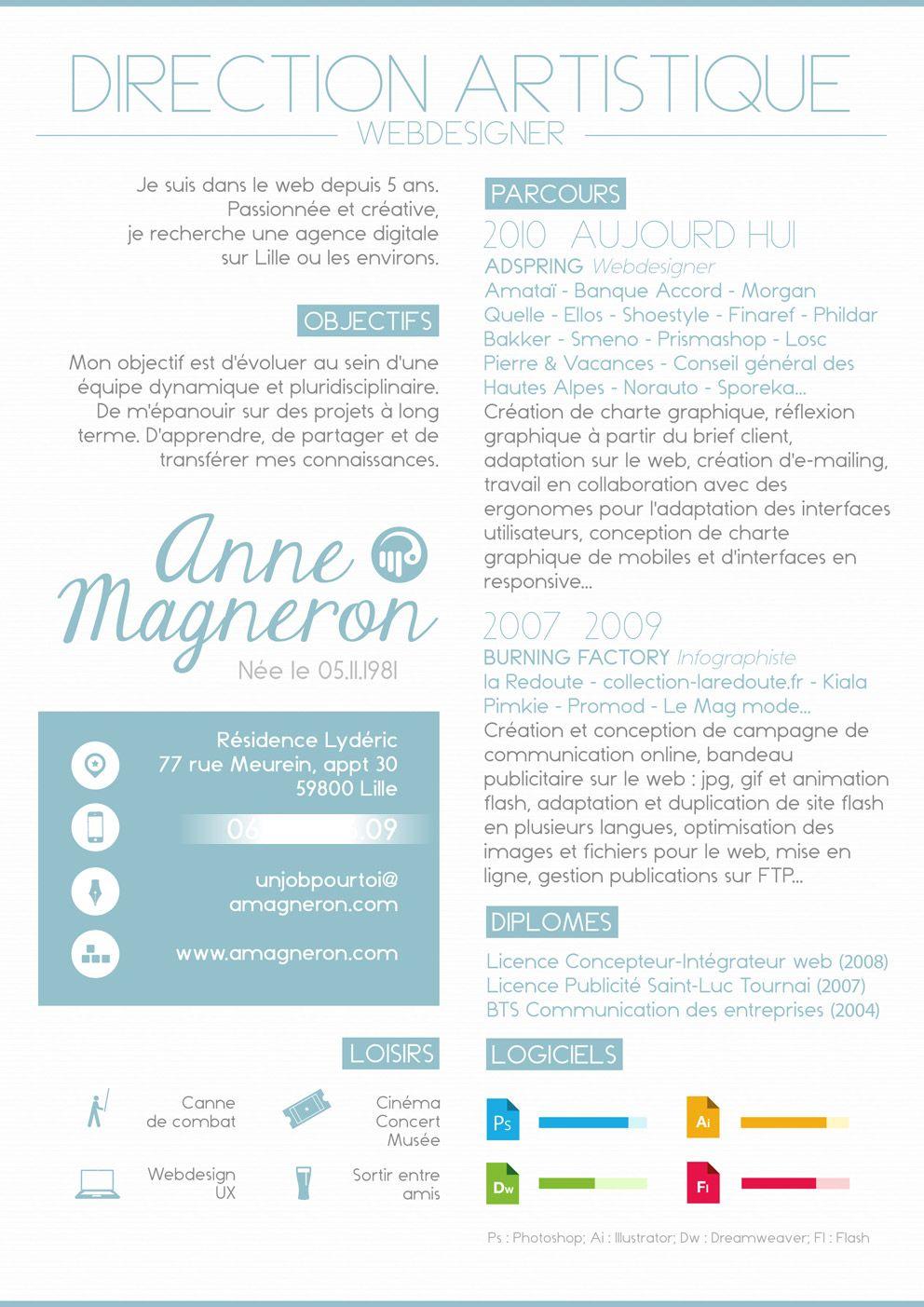 Cv Directrice Artistique Creative Resume Graphing Infographic Cv Design
