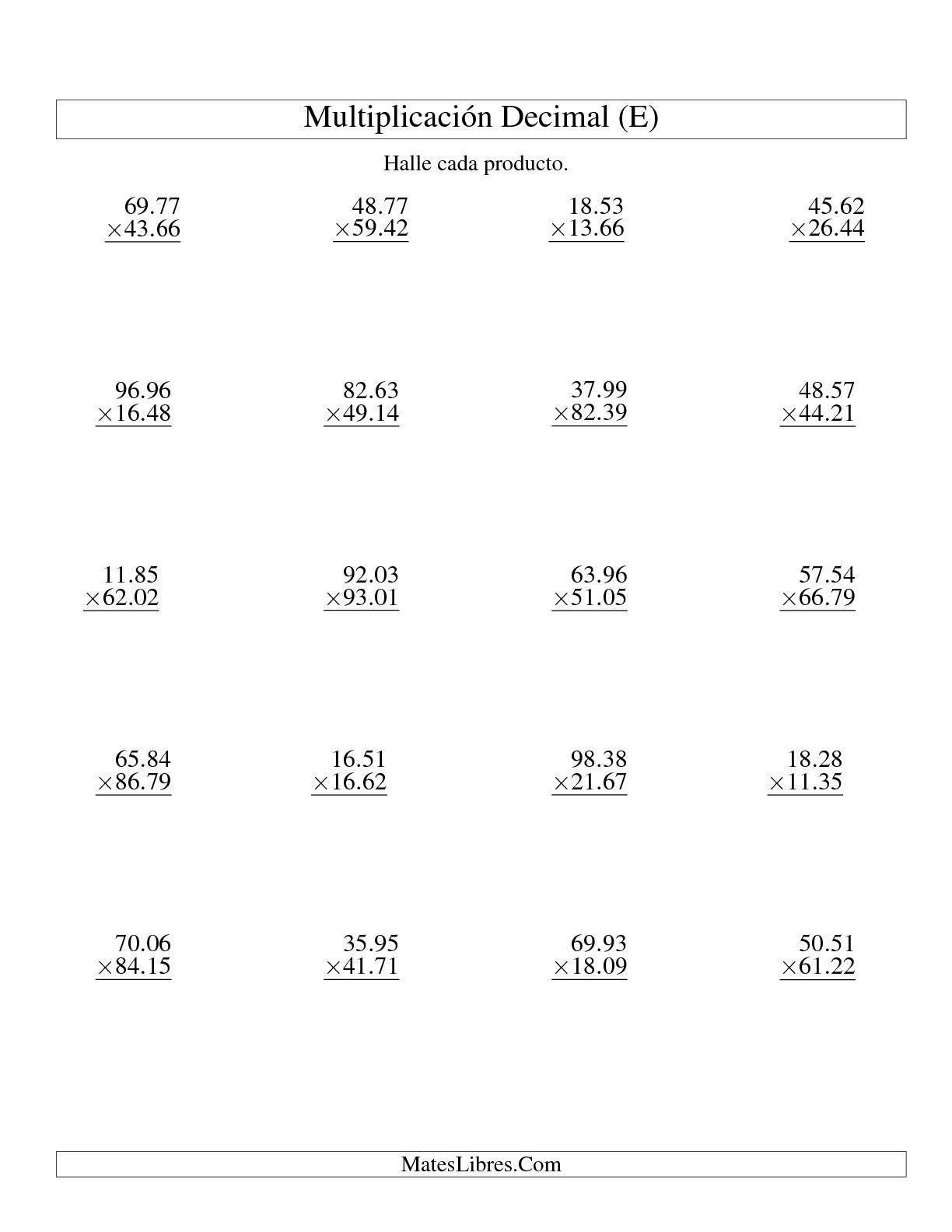 La hoja de ejercicios de Multiplicación de Decimales -- Centésimas ...