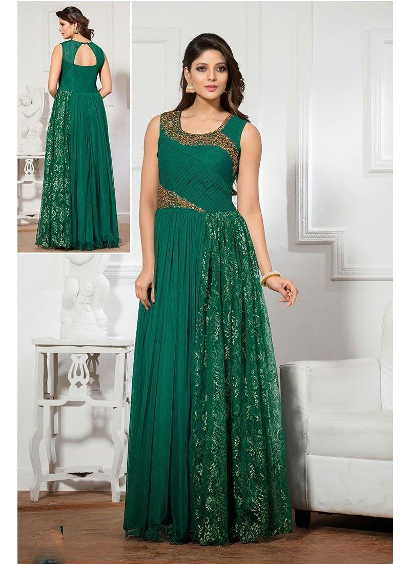 Green Net Long Gown #party wear #latest wear #trendy wear #womens ...