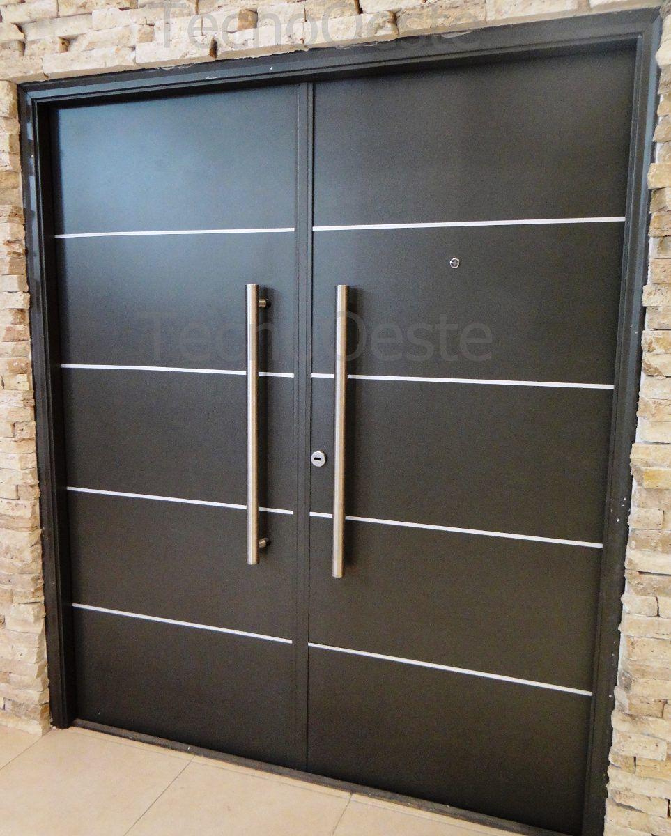 Porton puerta doble oblak grafito negra 160x200 portada for Disenos de portones modernos