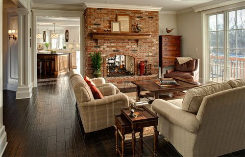 Traditional Family Room By Jane Kelly Designer For Airoom LLC Dark Floors Light Furniture Make The Mid Tone Brick Seem To Melt Into Background