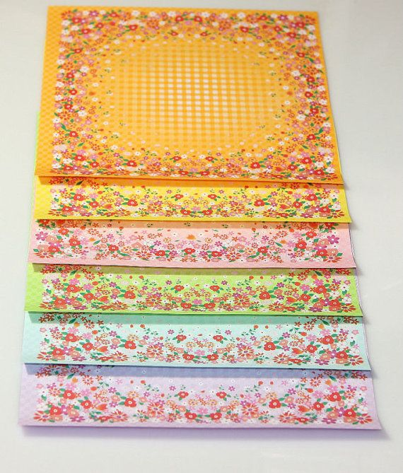 20 Sheets of 6 Flowery Pattern Origami Paper 6 by Foldthepaper, $3.99