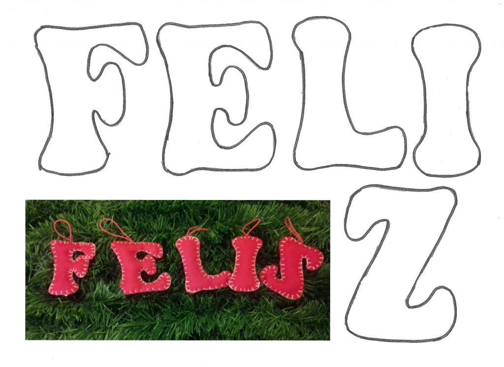 Plantilla Letras Feliz De Fieltro En 8sorbos De Inspiración Letras Feliz Navidad Feliz Navidad Navidad
