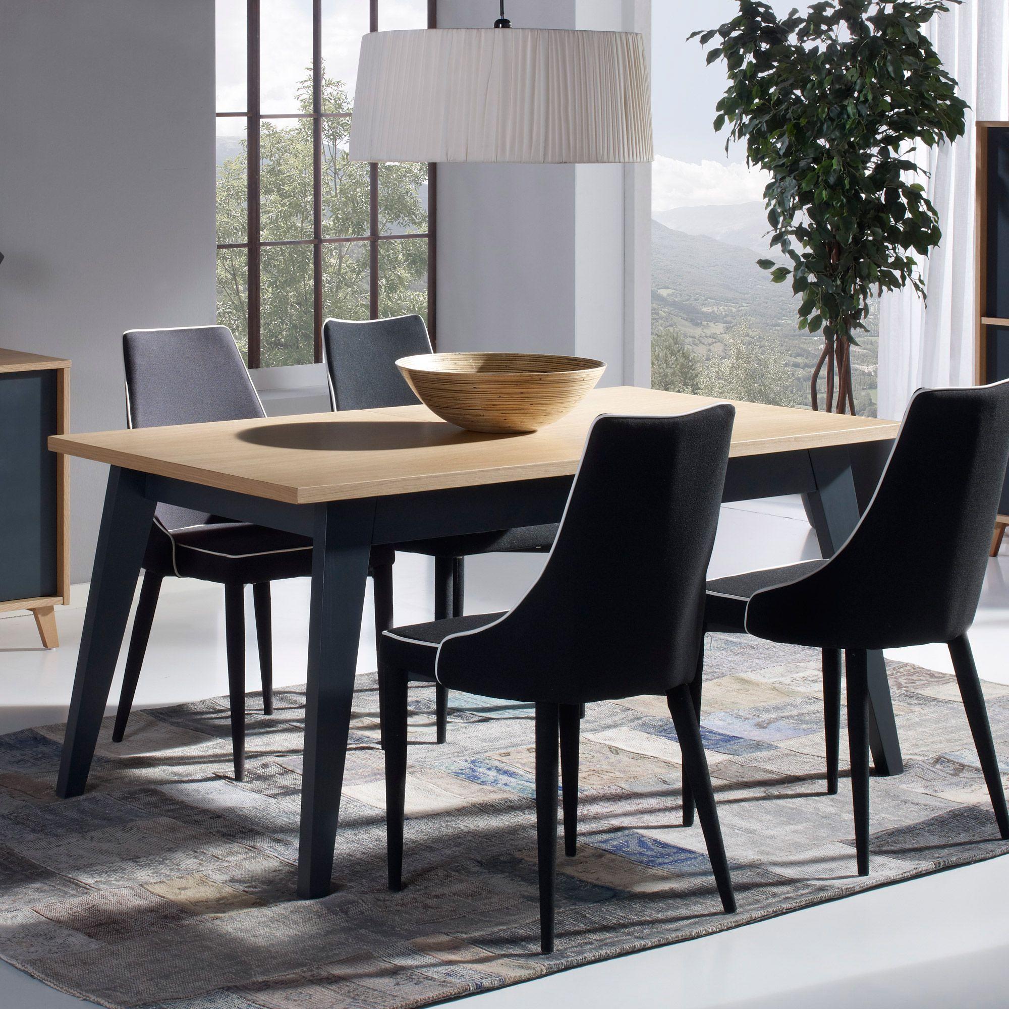 Table A Manger Rectangulaire En Bois A Rallonge Longueur 160 205 Cm Bleuet Table A Manger Rectangulaire Table A Manger Table Bois