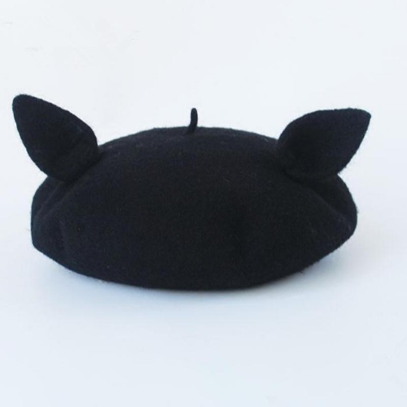 Lovely Black Cat Ear Piercing Beret Yv2349 Cute Hats Cat Ears Beret