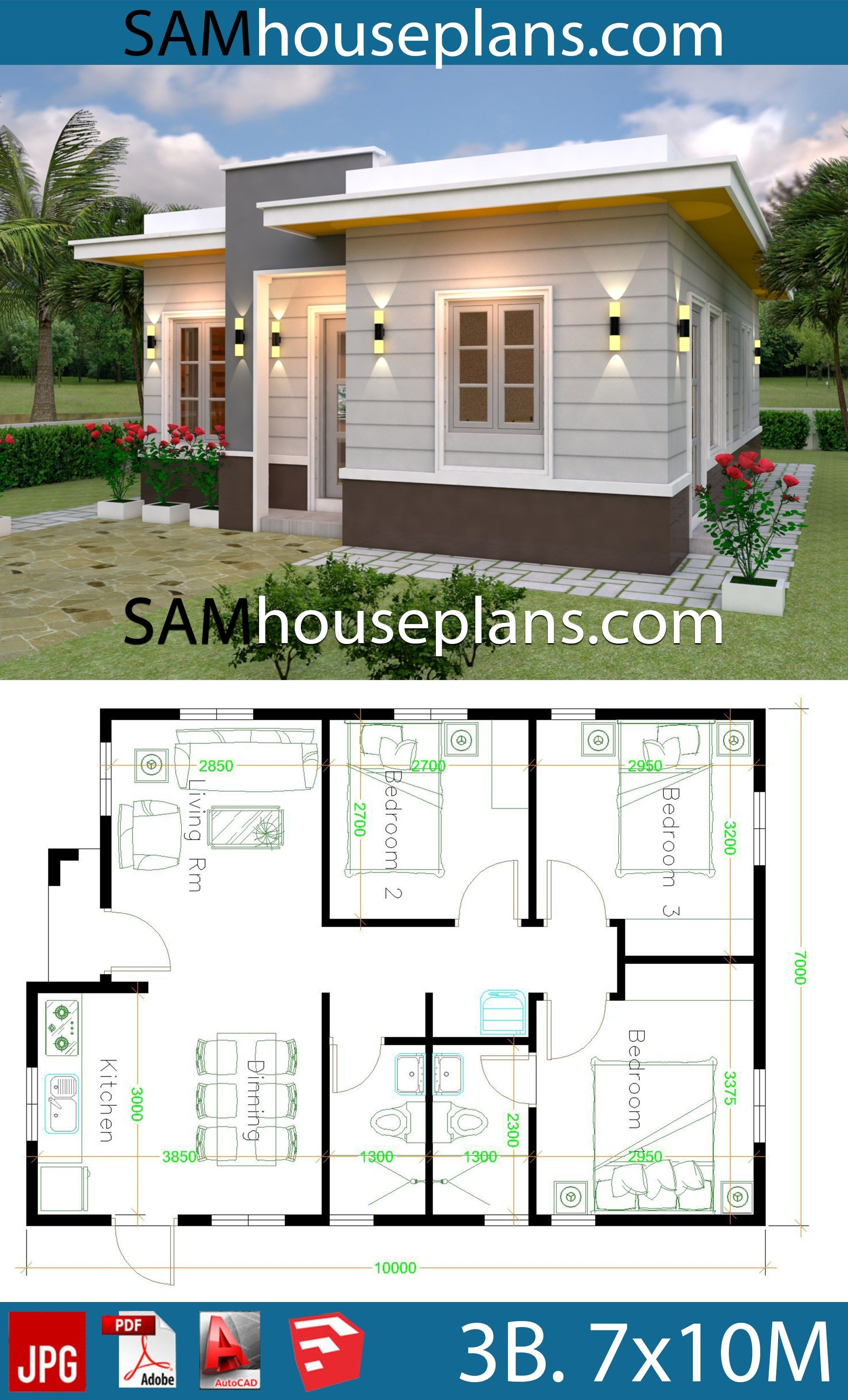 House Plans 7x10 With 3 Bedrooms With Terrace Roof Sam House Plans In 2020 My House Plans Simple House Design House Plan Gallery