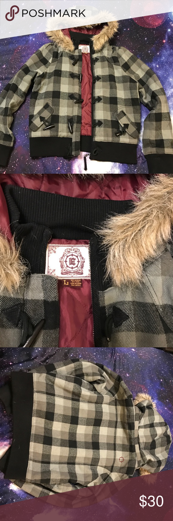 Empyre Clothing Winter Jacket This was purchased from Zumiez, but the specific brand is Empyre Clothing. This jackets has a burgundy liner with a fur lined hood, and wood toggles to button up the jacket. Questions? Just ask! Make me an offer! Empyre Clothing Jackets & Coats Puffers