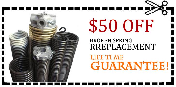 Broken spring Rreplacement, Life time guarantee Garage