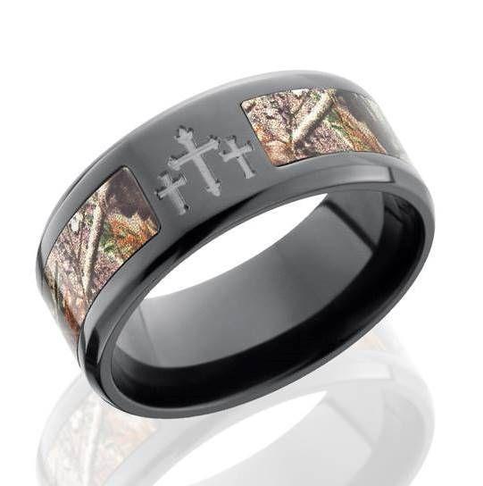 Men\'s Black Zirconium Camo Cross Ring