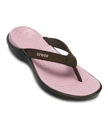 c7766d623fe7a6 Take a look at this Espresso   Petal Pink Capri IV Flip-Flop - Women by  Crocs Women   Men on  zulily today!