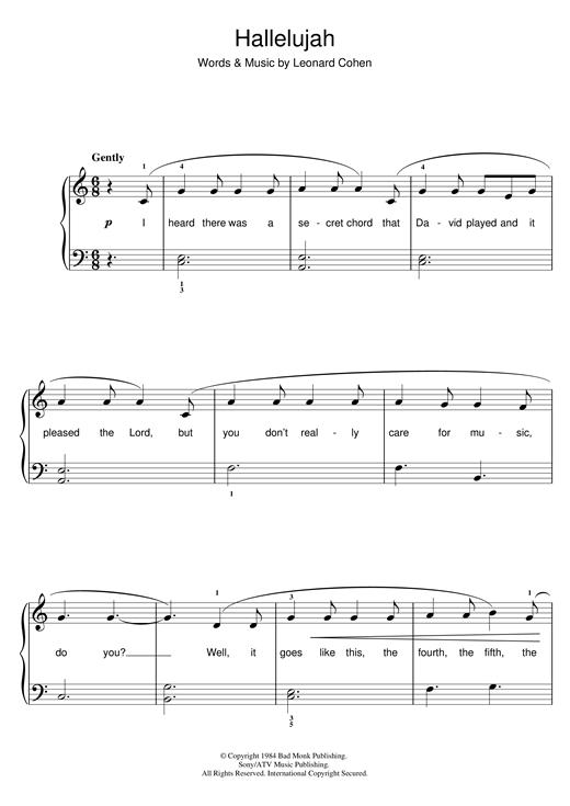 Leonard Cohen Hallelujah Sheet Music Notes Chords
