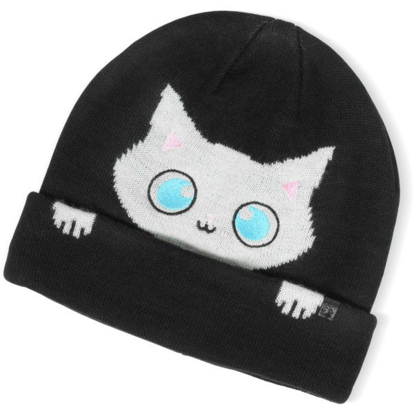 Karl Lagerfeld Designer Women s Hats Peek a Boo Cat Women s Beanie Hat ( 55)  ❤ liked on Polyvore featuring accessories b7c80171ea9b