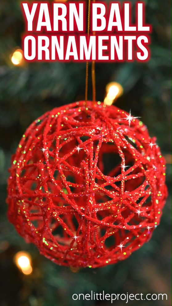 How to Make Glitter Ball Yarn Ornaments Using Balloons -   19 diy christmas decorations for kids ideas