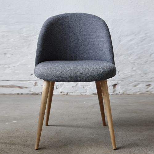chaise en chne et tissu gris lot de 2 hbsch sur decoclico - Chaise En Tissu Gris