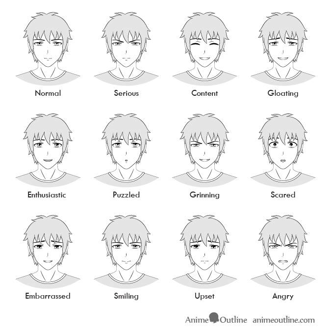 Anime Male Facial Expressions Chart Anime Faces Expressions Anime Male Face Anime Expressions