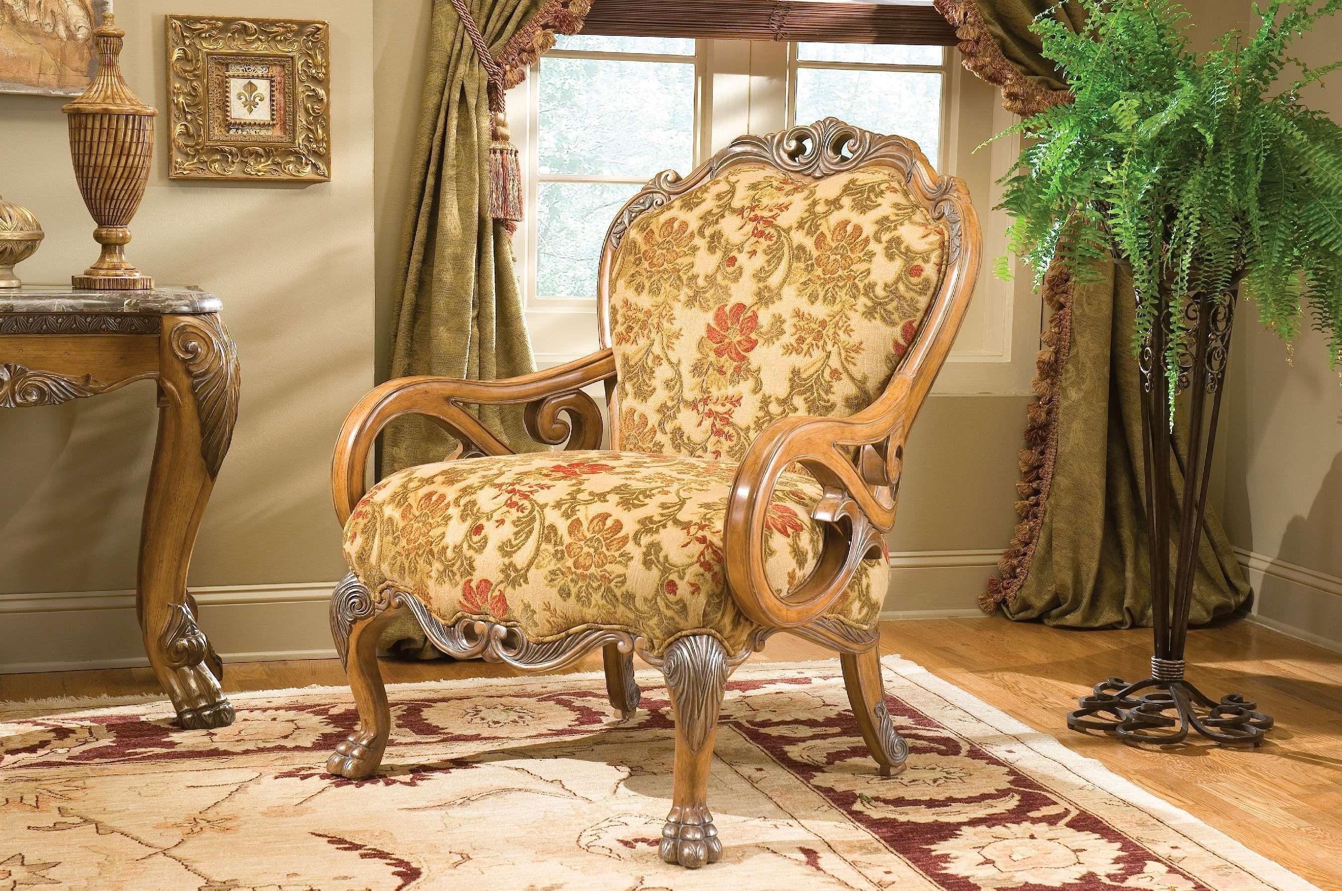 Aico Eden Living Room 3 PC Wood Trim Camelback Sofa Chair