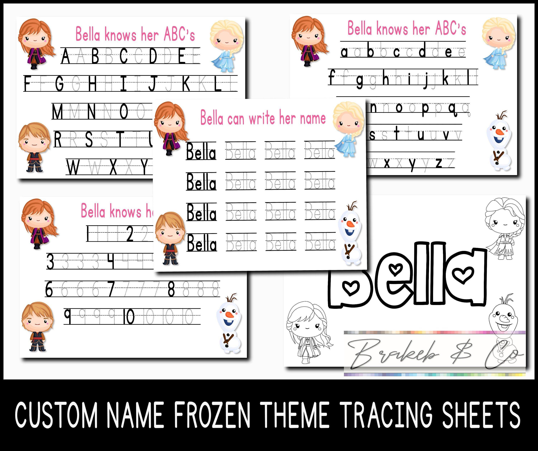Frozen Theme Custom Name Kids Tracing Sheet Set