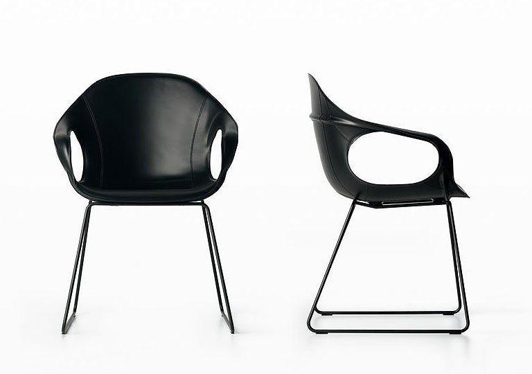 Kristalia Sedie ~ Sled base tanned leather chair elephant kristalia: sled base
