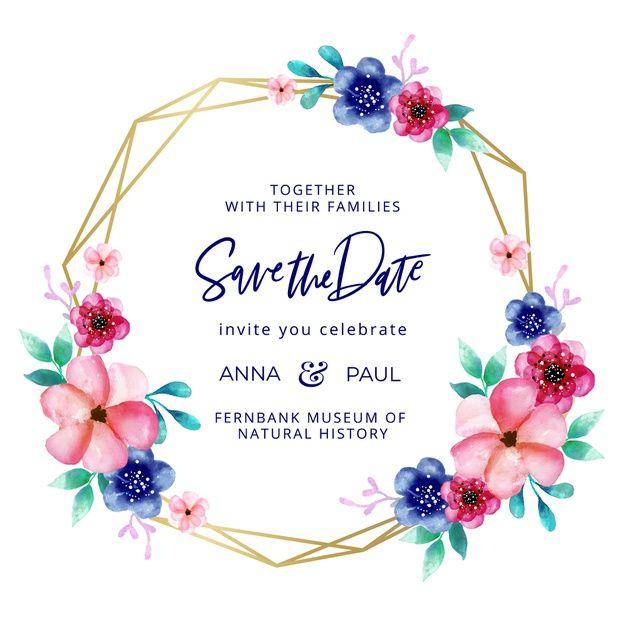 Baixe Moldura De Casamento Dourado Com Flores Em Aquarela Gratuitamente Etsy Digital Art Wedding Clipart Wedding Frames