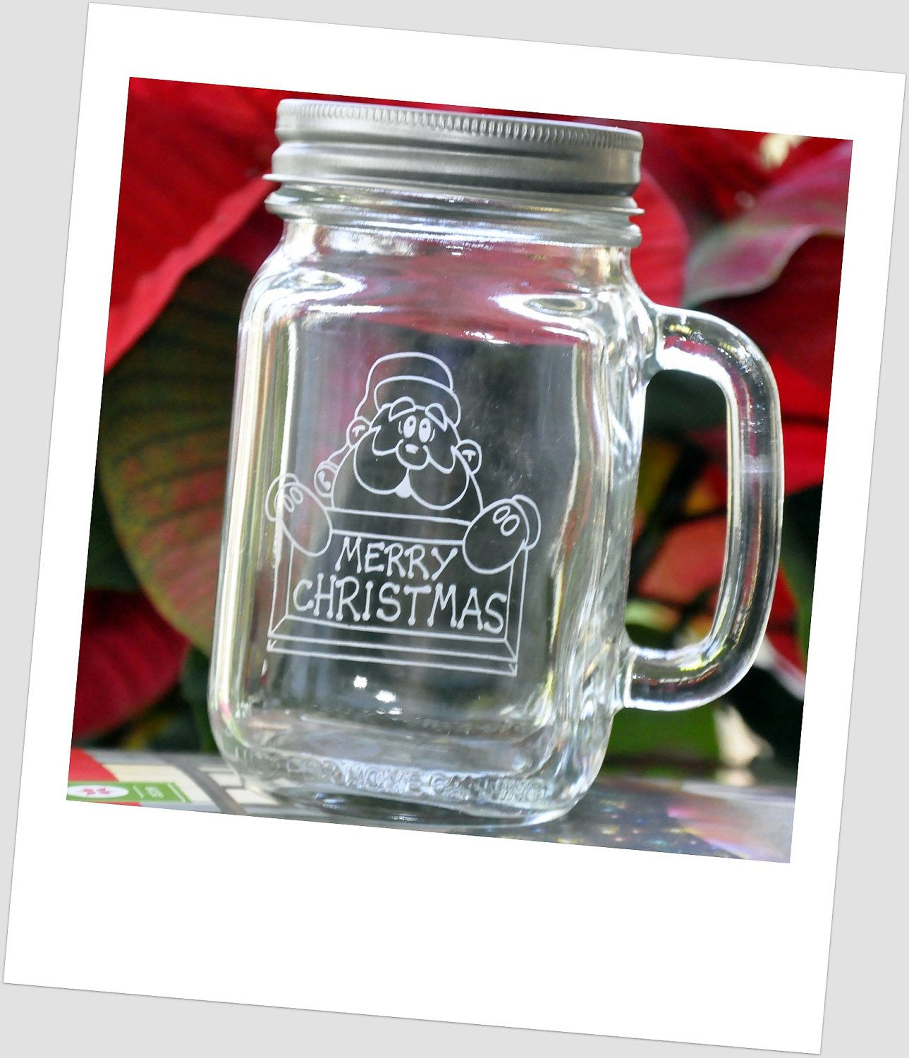 Jars On Sale 24 Hour Sale On Santa Etched Mason Jar With Handle Merry
