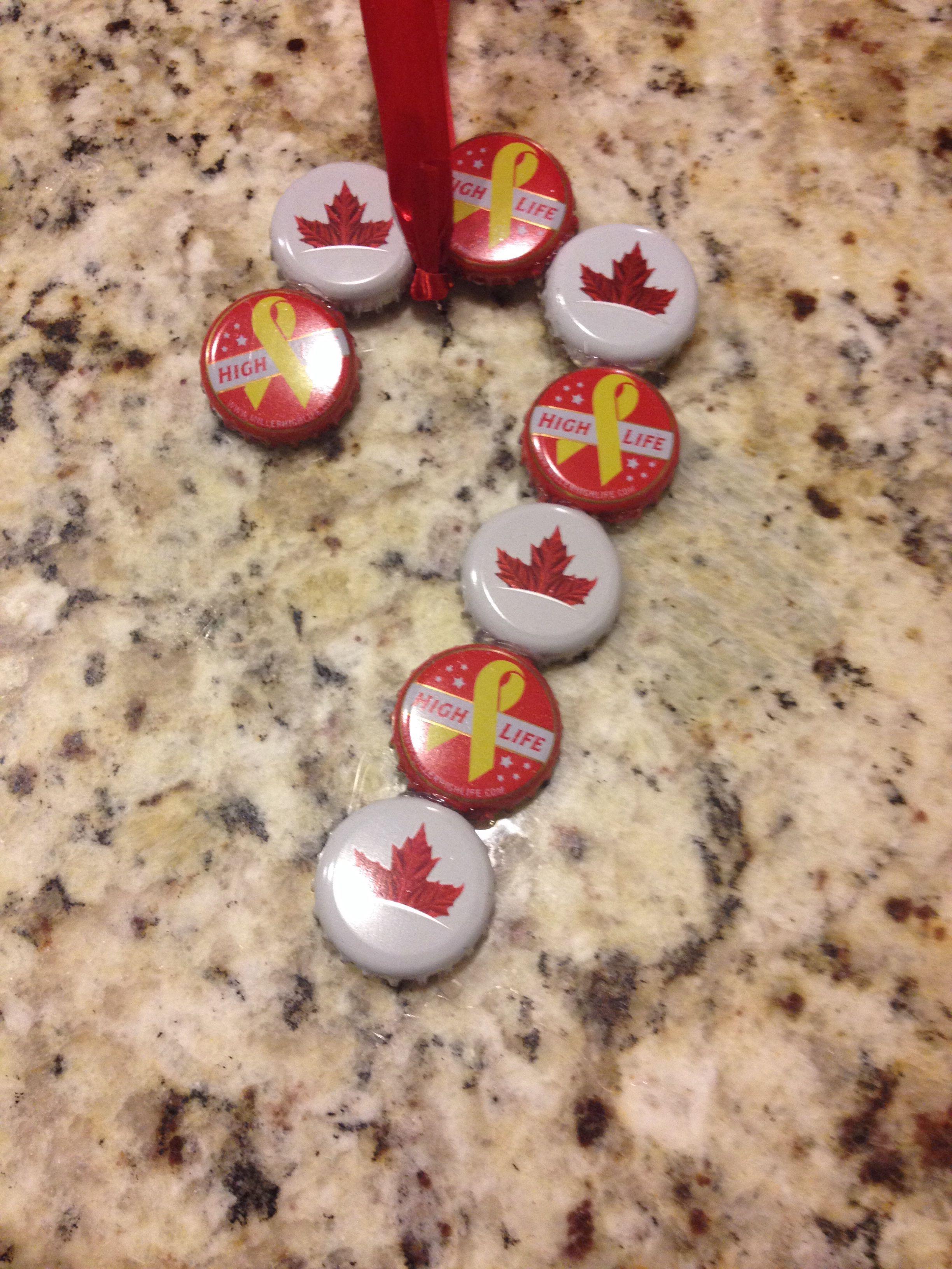Beer cap ornaments!