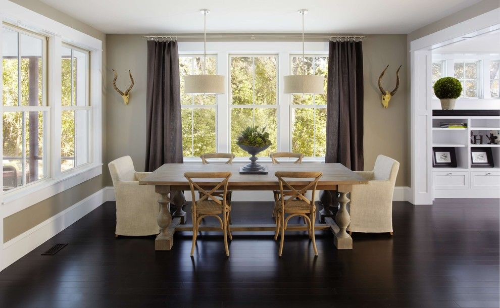 Exquisite Linen Curtains Restoration Hardware Decorating Ideas in Dining Room Traditional design ideas with Exquisite animal heads armchair dining chairs beige walls built-in shelving dark curtains dark