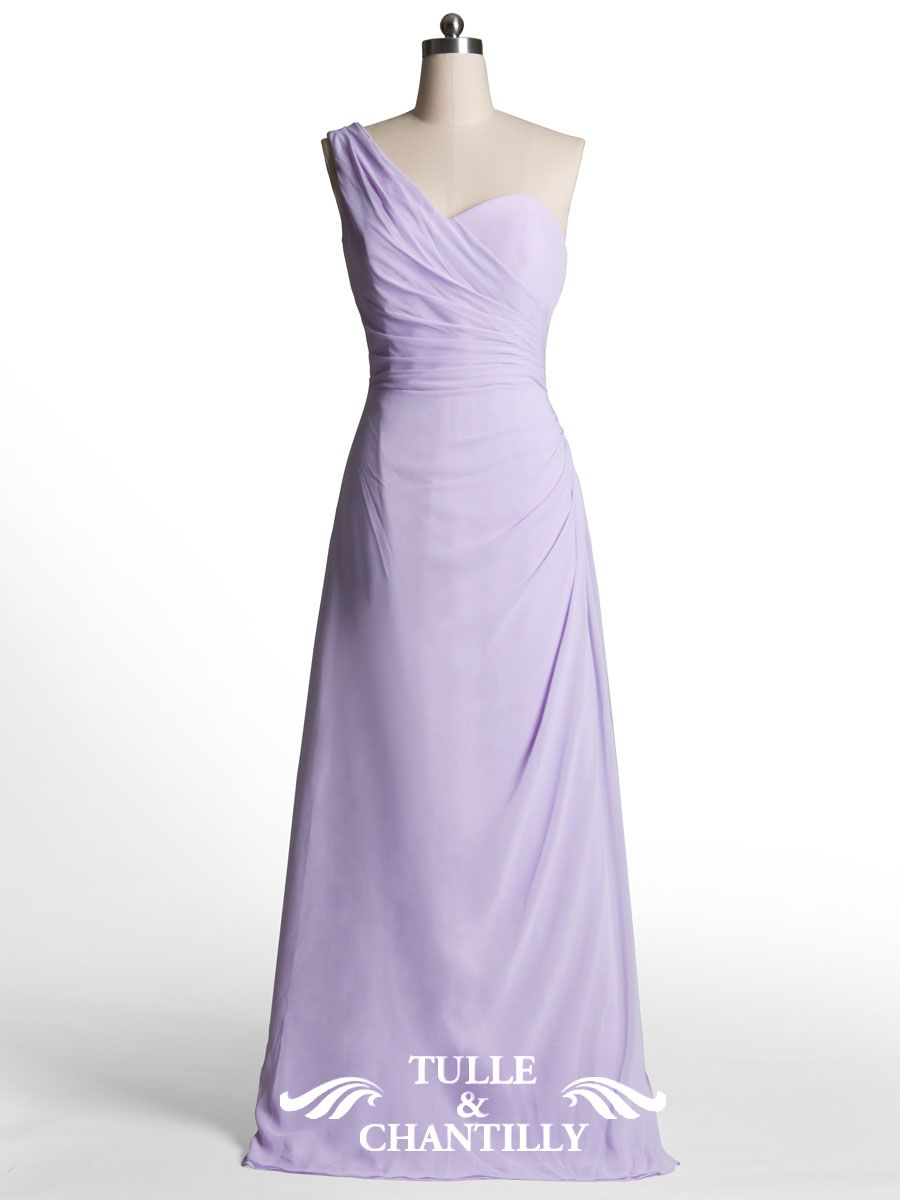 Simple Column One Shoulder Warped Long Pastel Lilac Bridesmaid Dress ...