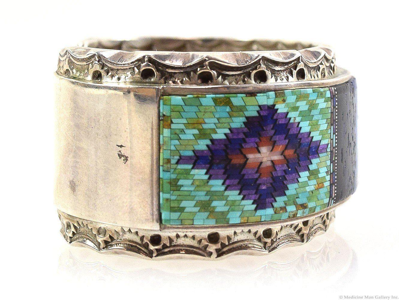Irene And Carl Clark Navajo Micro Inlay Sterling Silver Bracelet