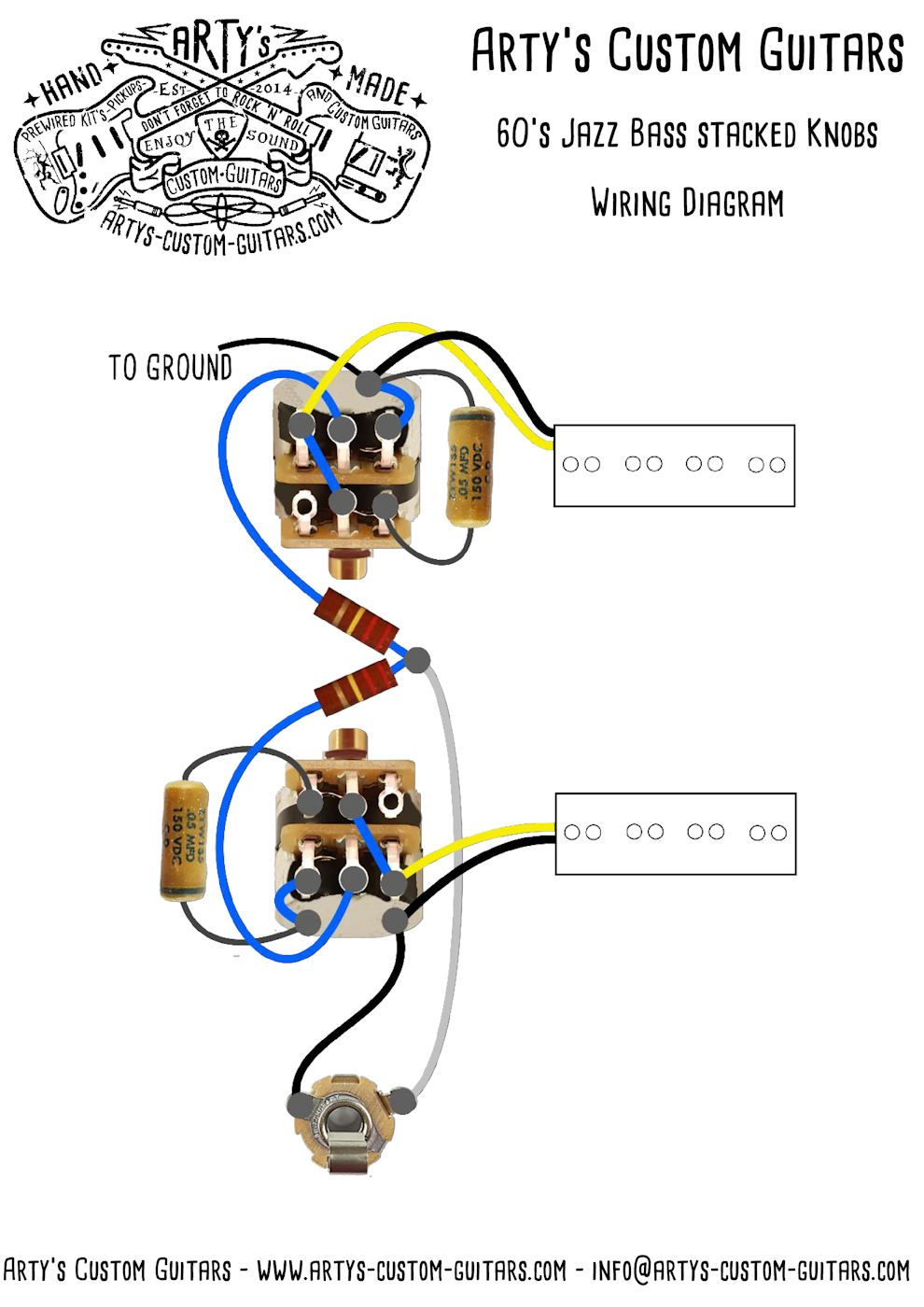 medium resolution of j bass 1960 1962 stacked pots vintage pre wired kit jazz bass 60 stacked wiring diagram