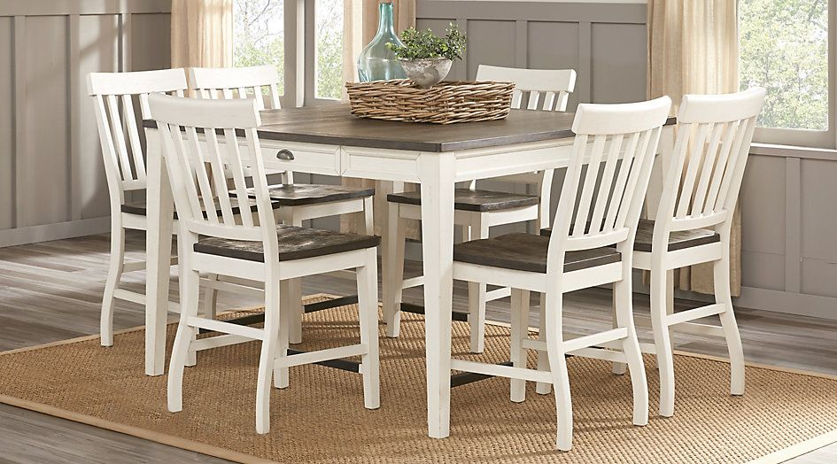 Keston White 7 Pc Square Counter Height Dining Room ...