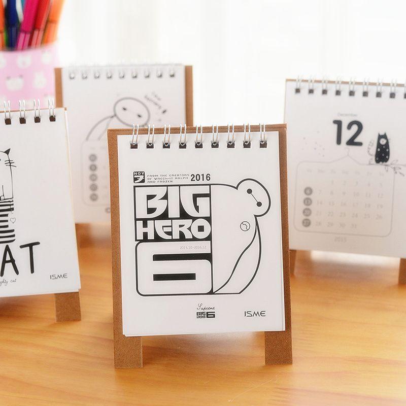 Calendar Photo Suppliers 8 Pcs Lot 2016 Desktop Hero 6 Baymax Simple Desk Office Supplies School