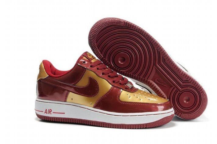 prix compétitif 40184 198a9 Chaussures Nike Air Force 1 'Q9 Low Cuir - Vin rouge d'or ...