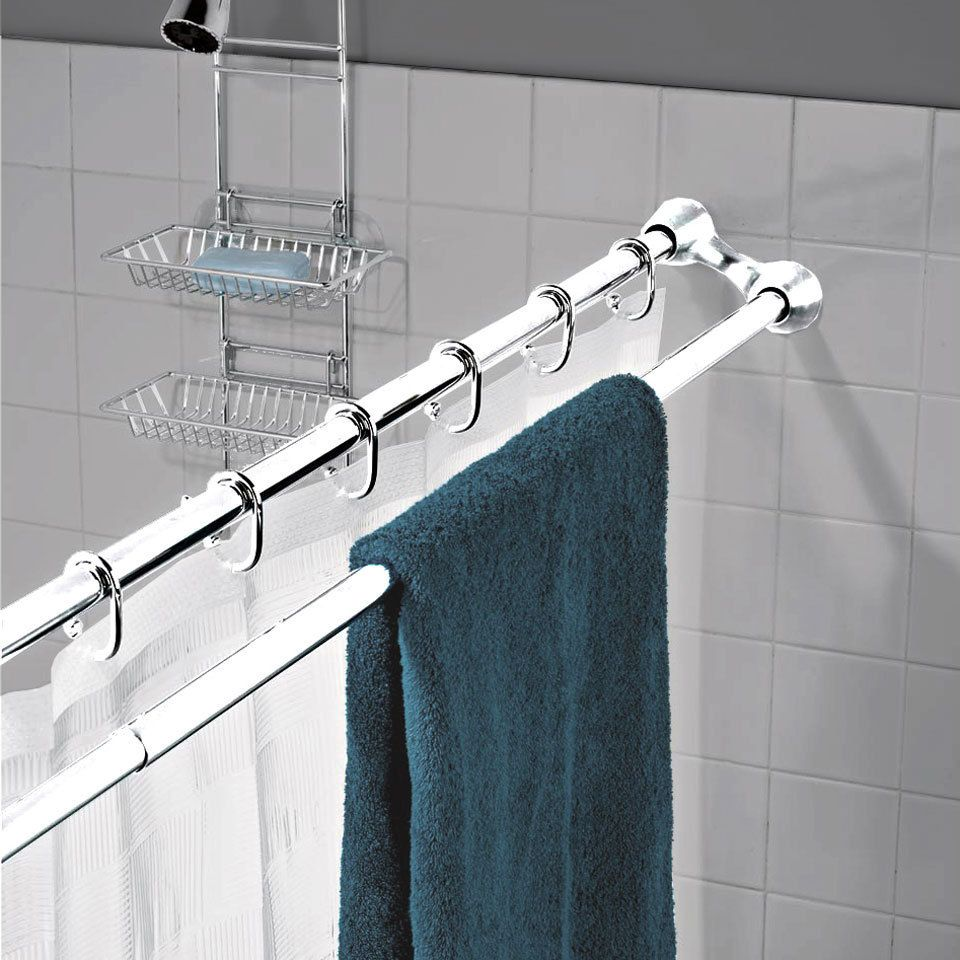 Small bathroom extra towel space doble barra en la ducha para colgar