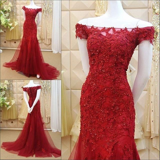 Arabic Vestidos Vintage Evening Gowns Red Lace Mermaid