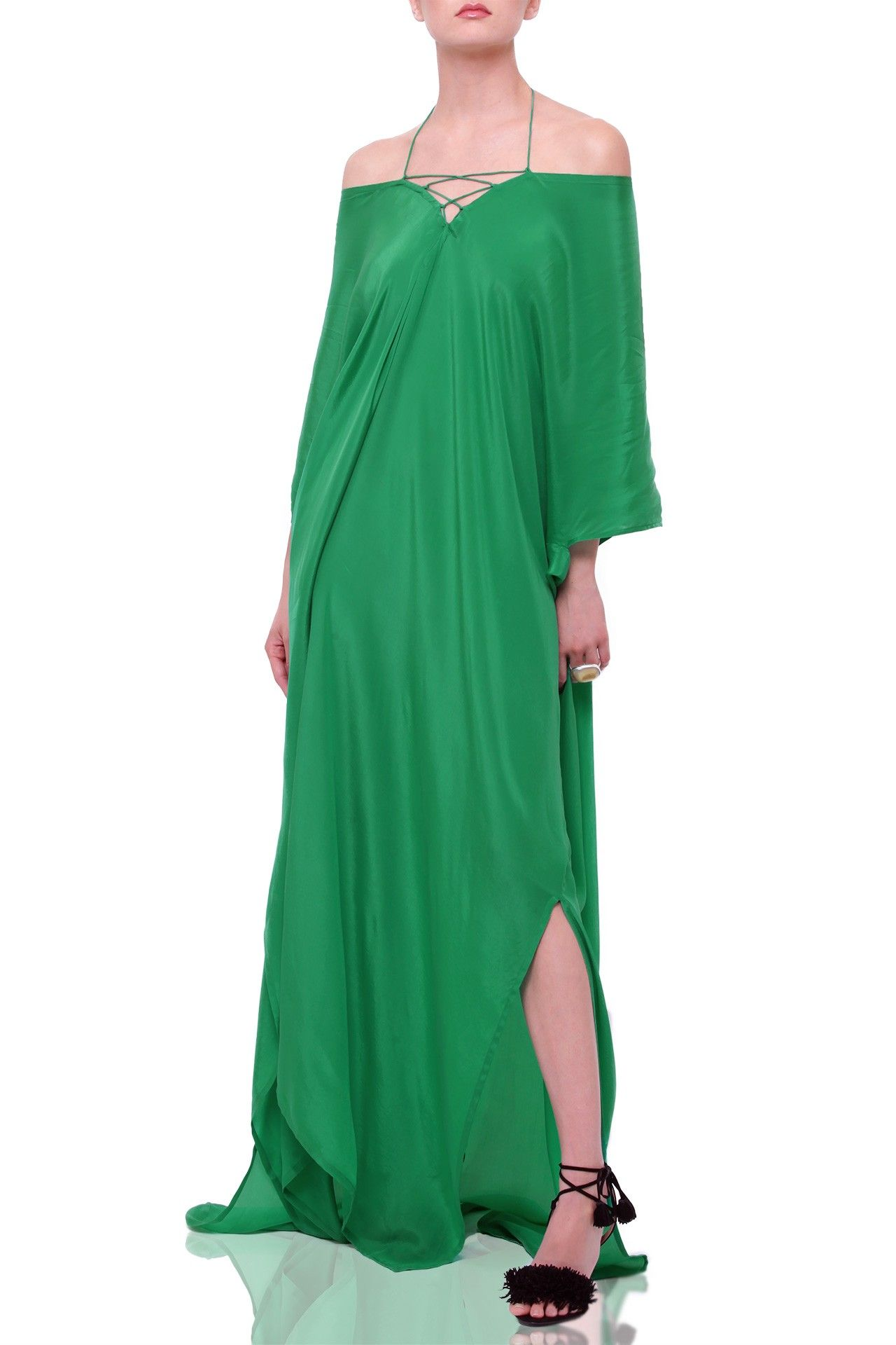 Dress for destination beach wedding guest  Emerald Green Silk Kaftan Dress  Kaftan Wedding guest dresses and