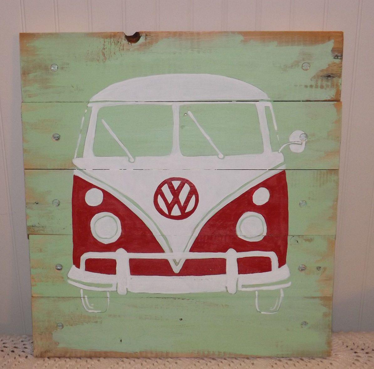 Volkswagen Vw Bus Transporter Hippie Surf Original Artwork Pallet Retro Wall Art Retro Wall Art Vw Art Bus Art