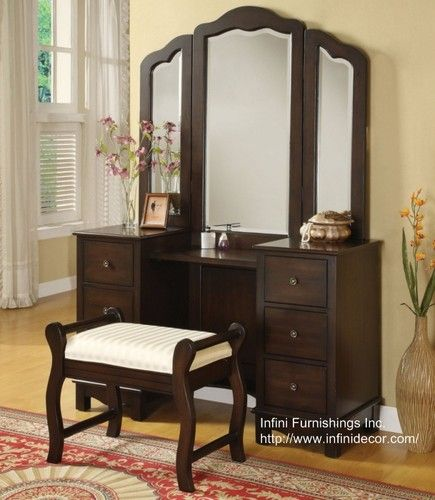 I really want one of these. Jewelry Table Tri Mirror Bench Set Makeup Vanity Stool