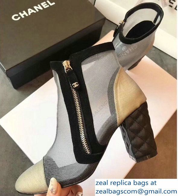 a5c8a2294dd93 Chanel Heel 8cm Mesh and Grosgrain Ankle Boots G33738 2018 ...