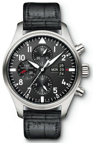 iwc pilot black dial chronograph automatic mens watch iw377701 iwc pilot black dial chronograph automatic mens watch iw377701 watches amazon com