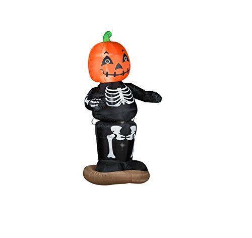 Gemmy Airblown Animated Dancing Pumpkin Boy Skeleton Inflatable - lowes halloween inflatables