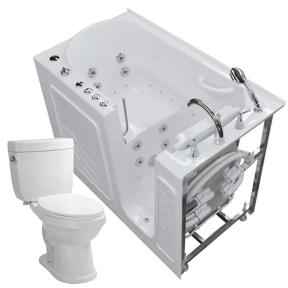 Universal Tubs 52.75 in. Walk-In Whirlpool and Air Bath Tub in White ...